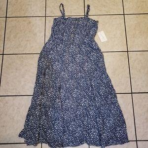 Blue Floral Spaghetti Strap Midi Dress